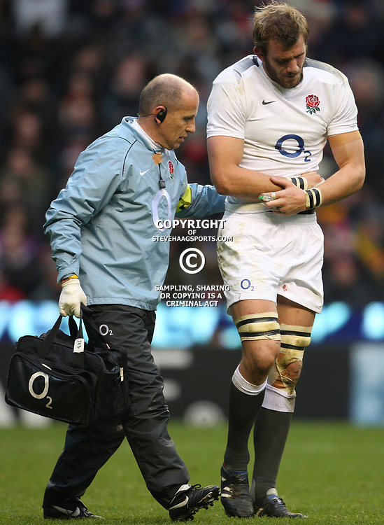 LONDON, ENGLAND - NOVEMBER 27,Tom Croft helped from the field with an injury  during the End of Year tour match between England and South Africa at Twickenham Stadium on November 27, 2010 in London, England<br /> Photo by Steve Haag / Gallo Images