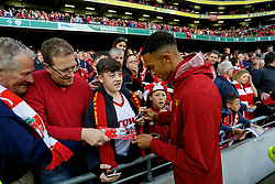DUBLIN, REPUBLIC OF IRELAND - Saturday, August 5, 2017: Liverpool's Trent Alexander-Arnold signs autographs with the supporters after a preseason friendly match between Athletic Club Bilbao and Liverpool at the Aviva Stadium. (Pic by David Rawcliffe/Propaganda)