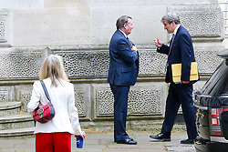 © Licensed to London News Pictures. 30/04/2019. London, UK. Liam Fox - Secretary of State for International Trade and President of the Board of Trade (L) and Damian Hinds - Secretary of State for Education (R) departs from No 10 Downing Street after attending the weekly Cabinet meeting. Photo credit: Dinendra Haria/LNP