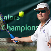Peter Froelich, Australia, in action in the 70 Mens Singles during the 2009 ITF Super-Seniors World Team and Individual Championships at Perth, Western Australia, between 2-15th November, 2009.