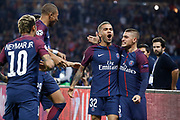 DANIEL ALVES DA SILVA (PSG) scored the first goal and celebrated it with Marco Verratti (psg), Kylian Mbappe (PSG), 10, Edinson Roberto Paulo Cavani Gomez (psg) (El Matador) (El Botija) (Florestan) during the UEFA Champions League, Group B football match between Paris Saint-Germain and Bayern Munich on September 27, 2017 at Parc des Princes stadium in Paris, France - Photo Stephane Allaman / ProSportsImages / DPPI
