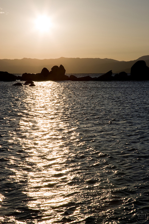 """Sunset at Lake Tahoe 3"" - This sunset and silhouetted  rocks were photographed at Sand Harbor, Lake Tahoe."