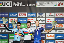 Podium / Bjorg Lambrecht of Belgium Silver medal / Marc Hirschi of Switzerland Gold Medal / Jaakko Hanninen of Finland Bronze Medal / Celebration / during the Men Under 23 Road race a 179.9km race from Kufstein to Innsbruck 582m at the 91st UCI Road World Championships 2018 / RR / RWC / on September 28, 2018 in Innsbruck, Austria. Photo by Vid Ponikvar / Sportida