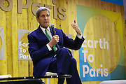 U.S. Secretary of State, John Kerry, speaks at the Earth to Paris Summit hosted by the United Nations Foundation during the United Nations Climate Change Conference in Paris, France, Dec. 2015. (Stuart Ramson for United Nations Foundation)