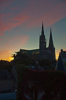 Our Lady of Chartres Cathedral, Chartres, France. View of the cathedral and part of the town just after sunrise.