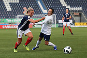 Kirsty Smith (#2) of Scotland and Ekaterina Lutskevich (#4) of Belarus pursue the ball during the FIFA Women's World Cup UEFA Qualifier match between Scotland Women and Belarus Women at Falkirk Stadium, Falkirk, Scotland on 7 June 2018. Picture by Craig Doyle.
