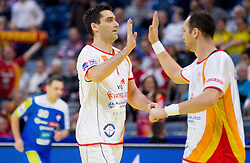 Kiril Lazarov of FYR Macedonia and Branislav Angelovski of FYR Macedonia during handball match between Slovenia and F.Y.R. Macedonia for 5th place at 10th EHF European Handball Championship Serbia 2012, on January 27, 2012 in Beogradska Arena, Belgrade, Serbia.  (Photo By Vid Ponikvar / Sportida.com)