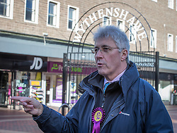 © Licensed to London News Pictures . 01/02/2014 . Manchester , UK . John BICKLEY . Nigel Farage , the leader of the UK Independence Party ( UKIP ) joins candidate John Bickley on the campaign trail ahead of the Wythenshawe and Sale East by-election , following the death of MP Paul Goggins . Photo credit : Joel Goodman/LNP