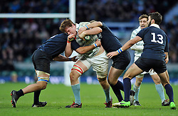 Jack Baker of Cambridge University takes on the Oxford defence - Photo mandatory by-line: Patrick Khachfe/JMP - Mobile: 07966 386802 11/12/2014 - SPORT - RUGBY UNION - London - Twickenham Stadium - Oxford University v Cambridge University - The Varsity Match