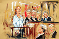 ©PRISCILLA COLEMAN ITV 01.07.04.PIC SHOWS : CHARLOTTE JENKINS GIVING EVIDENCE AT THE HIGH COURT(LEFT). HER FATHER SION JENKINS, IS CURRENTLY APPEALING HIS SENTENCE FOR THE MURDER OF BILLY JO JENKINS AND CAN BE SEEN IN THE DOCK ON THE RIGHT. ADDRESSING THE JUDGES IS CLAIRE MONTGOMERY QC FOR THE DEFENCE. SEE STORY..SEE STORY..