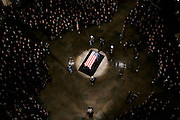 The casket of former U.S. President Gerald R. Ford lies in the center of the rotinda during a State Funeral service in the Capitol in Washington, DC on Saturday 30 December 2006. Ford will lie in state at the Capitol until Tuesday 02 January 2006, when a funeral will be held at the National Cathedral.