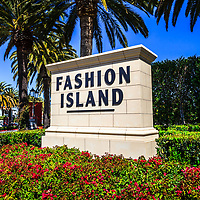 Photo of Fashion Island sign. Fashion Island is an upscale shopping mall in the wealthy seaside city of Newport Beach in Orange County Southern California. The photo is high resolution and was taken in 2012.