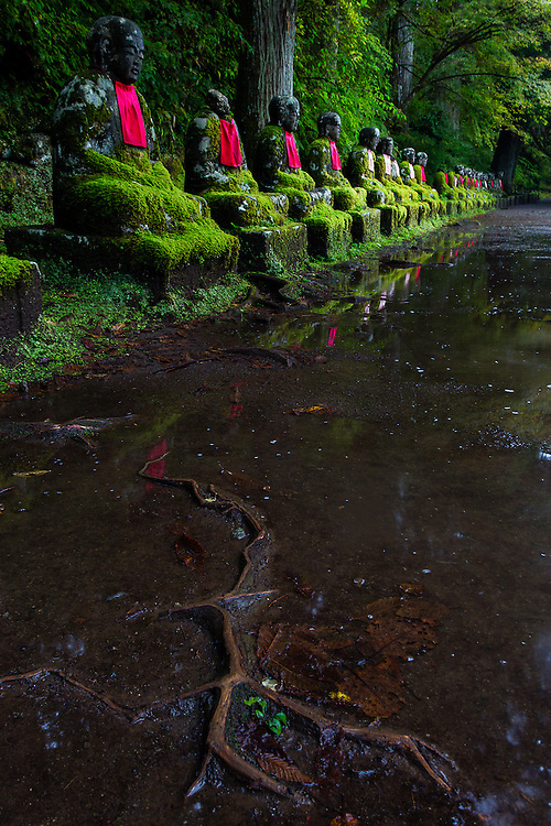 On the path near Kanmangafuchi Abyss, the statues of the Jizo lay watching. Jizo are buddhist deities that are supposed to ease the passing from the land of the living to the land of the dead, and also prtectors of the spirits of dead children.