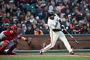San Francisco Giants center fielder Denard Span (2) chops at a Cincinnati Reds pitch at AT&T Park in San Francisco, California, on May 11, 2017. (Stan Olszewski/Special to S.F. Examiner)