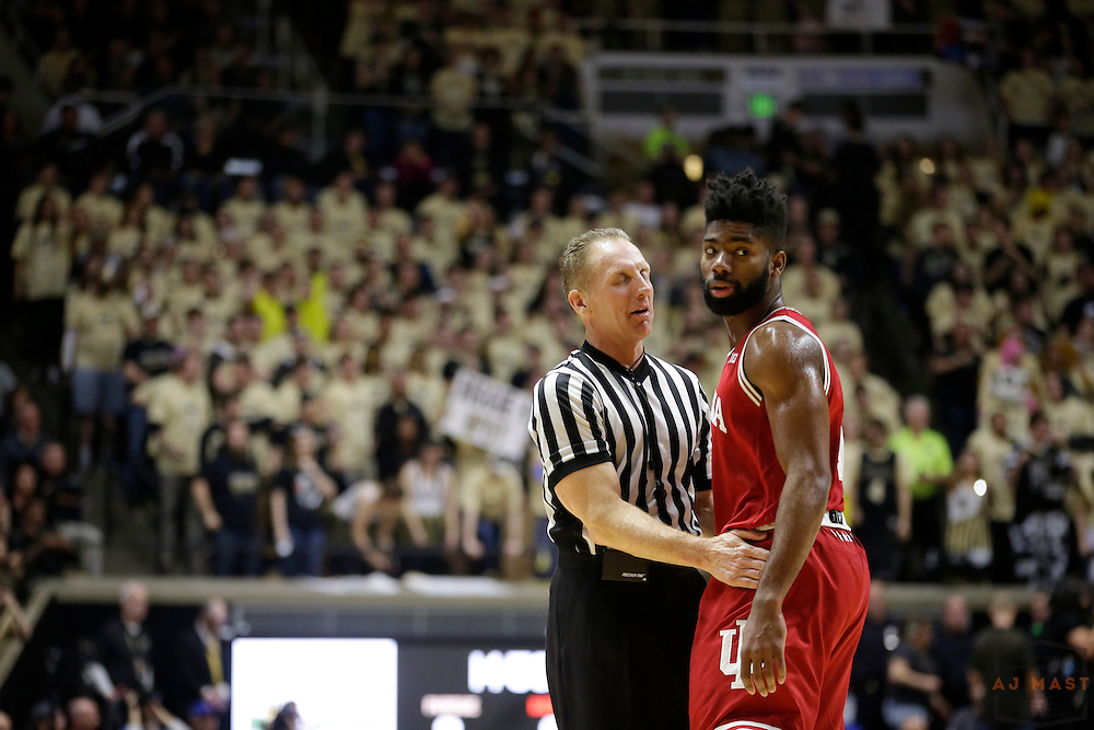 Indiana guard Robert Johnson (4) in action as Purdue played Indiana in an NCCA college basketball game in West Lafayette, Ind., Tuesday, Feb. 28, 2017. (Photo by AJ Mast)
