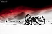 Civil War cannon in the winter at Gettysburg National Battlefield