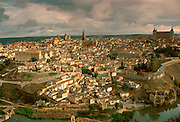 SPAIN, LA MANCHA, TOLEDO Cathedral  and amp; Alcazar above Rio Tajo