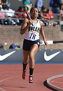 Apr 26, 2018; Philadelphia, PA, USA; Shaniya Hall runs the anchor leg on the Bullis (Md.) girls 4 x 400m relay that won its heat in 3:42.42 during the 124th Penn Relays at Franklin Field.