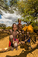 Hamer tribe boys in the Omo Valley, Ethiopia.