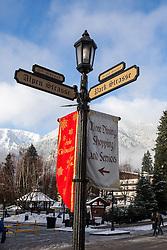 Street lamppost decorated for Christmas, Leavenworth, Washington, United States of America
