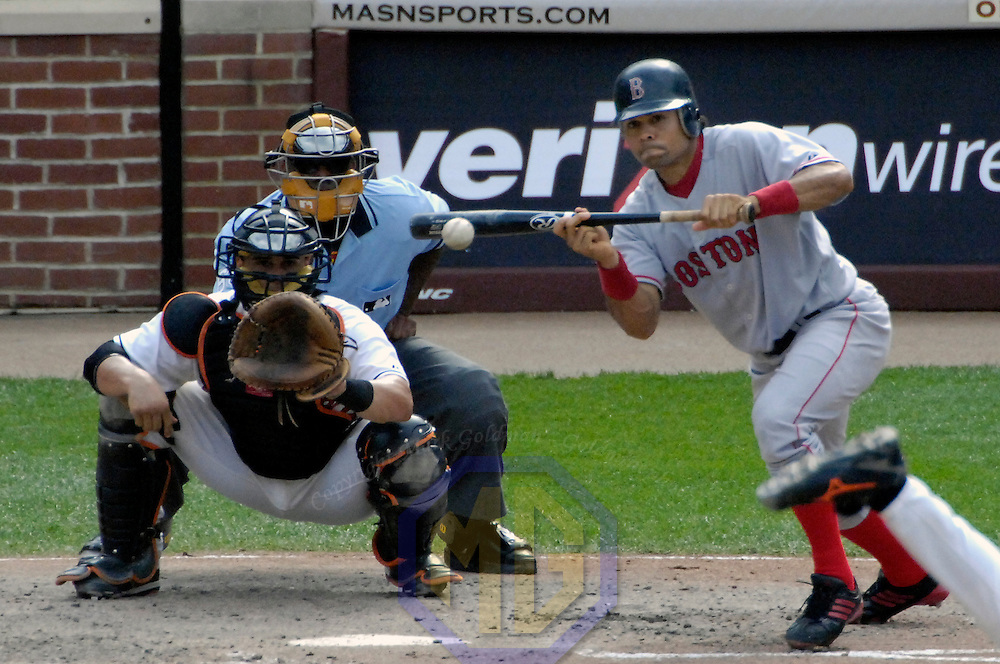 09 September 2007:  Boston Red Sox center fielder Coco Crisp (10) hits a bunt in the 6th inning as Baltimore Orioles catcher Ramon Hernandez (55) looks to field the ball.  The Red Sox defeated the Orioles 3-2 at Camden Yards in Baltimore, MD.