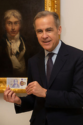 © Licensed to London News Pictures. 20/02/2020. London, UK. Bank of England Governor Mark Carney poses with the new £20 banknote in front of a JMW Turner's self-portrait painting, which features on the note. Photo credit: Ray Tang/LNP