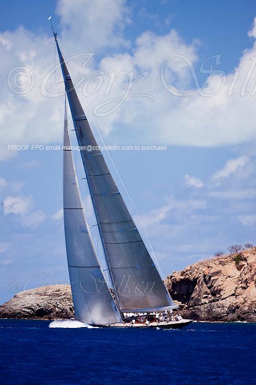 Hanuman  sailing during the Caribbean Superyacht Regatta and Rendezvous, race 3.