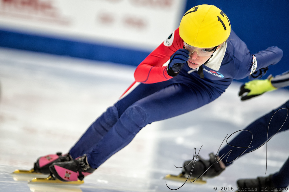 March 19, 2016 - Verona, WI - Grace Trosin, skater number 17 competes in US Speedskating Short Track Age Group Nationals and AmCup Final held at the Verona Ice Arena.