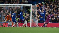 Football - 2017 / 2018 Premier League - Chelsea vs Manchester City<br /> <br /> Leroy Sane (Manchester City) takes a shot at the Chelsea goal at Stamford Bridge <br /> <br /> COLORSPORT/DANIEL BEARHAM