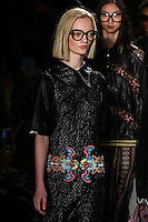 Ida Dyberg walks the runway wearing Custo Barcelona Fall 2016 20th Anniversary Collection during New York Fashion Week on February 14, 2016