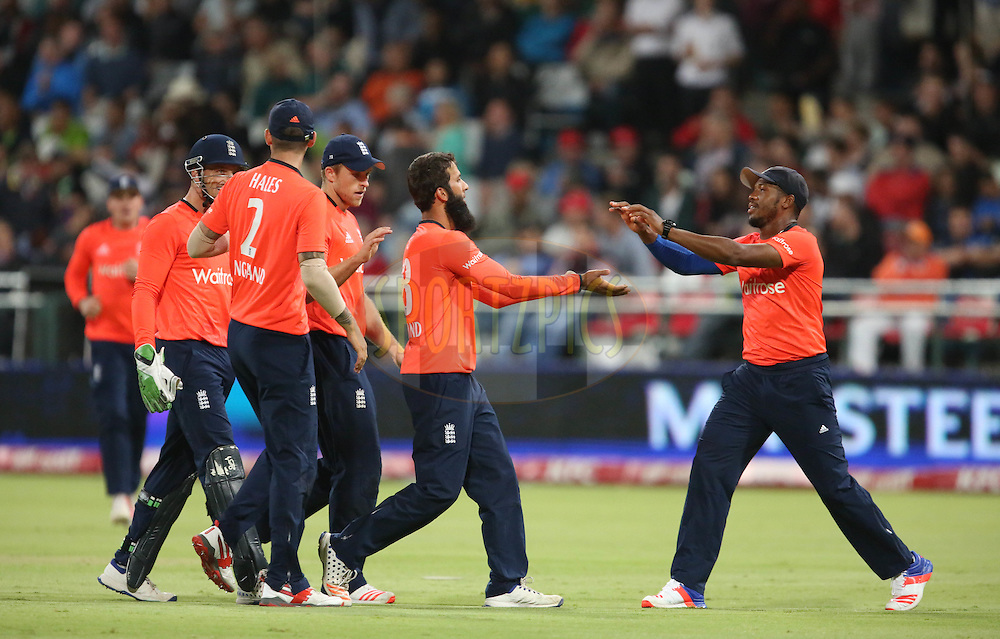 Moeen Ali congratulates Chris Jordan during the First KFC T20 Match between South Africa and England played at Newlands Stadium, Cape Town, South Africa on February 19th 2016
