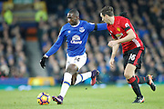 Everton's Yannick Bolasie (14)  ana Manchester United's Matteo Darmian (36) during the Premier League match between Everton and Manchester United at Goodison Park, Liverpool, England on 4 December 2016. Photo by Craig Galloway.