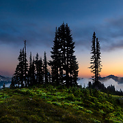 A fall storm clears over the peaks of the Paradise Valley in Mount Rainier National Park, near Ashford, Washington.