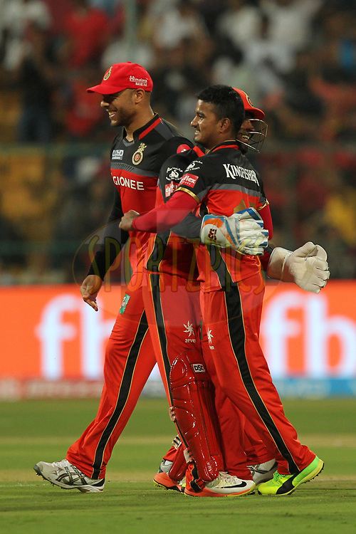 Pawan Negi of Royal Challengers Bangalore celebrates wicket of Pant of Delhi Daredevils during match 5 of the Vivo 2017 Indian Premier League between the Royal Challengers Bangalore and the Delhi Daredevils held at the M.Chinnaswamy Stadium in Bangalore, India on the 8th April 2017Photo by Prashant Bhoot - IPL - Sportzpics