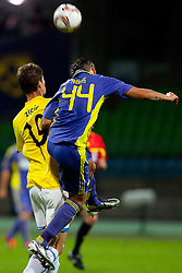 Nikola Zigic of Birmingham City and Arghus of NK Maribor at 2nd Round of Europe League football match between NK Maribor (Slovenia) and Birmingham City (England), on September 29, 2011, in Maribor, Slovenia.  (Photo by Urban Urbanc / Sportida)