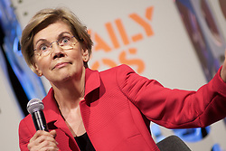 Sen. Elizabeth Warren, as well as three other Democratic Presidential hopefuls Sen. Kirsten Gillibrand, Gov. Jay Inslee and react to questions during the Daily Kos/Netroots Nation candidate forum, at the Convention Center in Philadelphia, PA, on July 13, 2019.