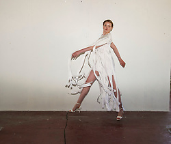 Pictured: Model Ruth MacGilp<br /> Cowboys, falconry and gang culture provided some of the inspiration for University of Edinburgh fashion students, whose work will be displayed between May 18 and 20 this year<br /> <br /> Ger Harley | EEm 19 April 2016