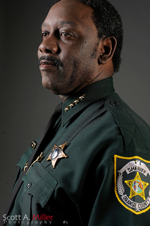 May 18, 2009; Orlando, Florida: Orange County Florida Sheriff Jerry Demmings shot for Orlando Magazine's 50 Most Powerful People.  Demmings' wife, Val, is the Orlando Chief of Police..© 2009 Scott A. Miller