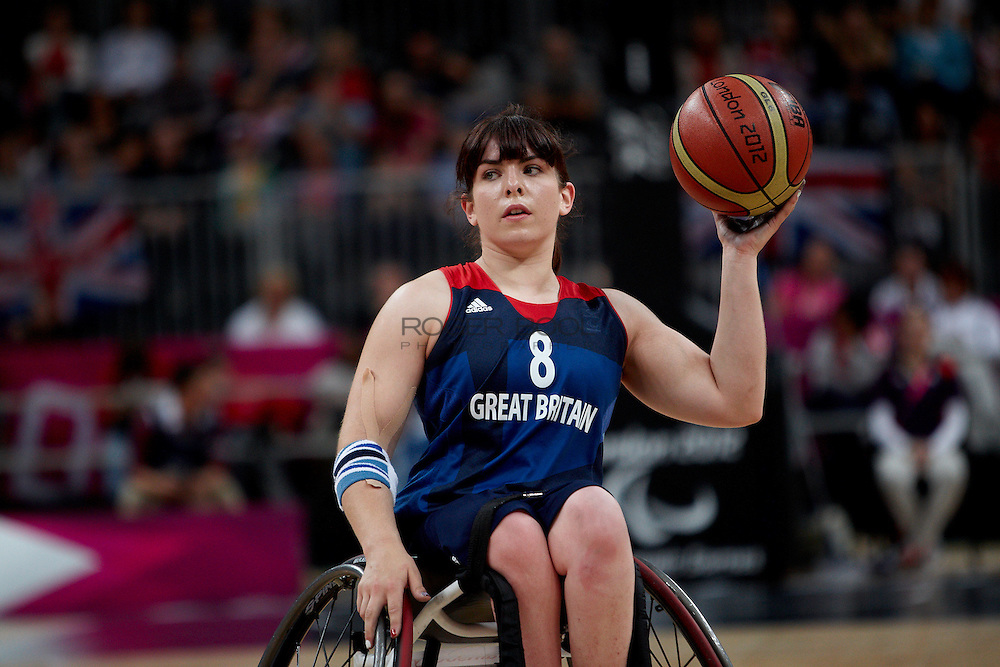 Laurie Williams of the Gerat Britain women's Wheelchair Basketball team plays at the Paralympic Basketball Arena in their 42-37 win over Brazil on day 3 of the London 2012 Paralympic Games. 1st September 2012.