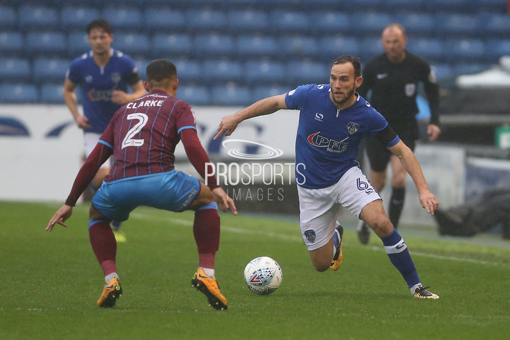 Funso Ojo Scunthorpe Midfielder v Dan Gardner Oldham Midfielder during the EFL Sky Bet League 1 match between Oldham Athletic and Scunthorpe United at Boundary Park, Oldham, England on 28 October 2017. Photo by George Franks.