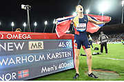 Karsten Warholm (NOR) poses with scoreboard after winning the 400m hurdles in a meet record 46.92 to become the third man to run under 47 seconds in the IAAF Diamond League final during the Weltkasse Zurich at Letzigrund Stadium, Thursday, Aug. 29, 2019, in Zurich, Switzerland. (Jiro Mochizuki/Image of Sport)