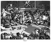 0 BC, pyramid in background.  Sphinx is creature with lion's body and human heand squabble. The blind Lord Albermarle Bertie (centre) is being robbed by figure taking note out the upturned hat.  Engraving after William Hogarth (1697-1764)
