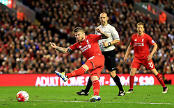 Alberto Moreno of Liverpool fires a shot at goal  - Mandatory by-line: Matt McNulty/JMP - 20/04/2016 - FOOTBALL - Anfield - Liverpool, England - Liverpool v Everton - Barclays Premier League