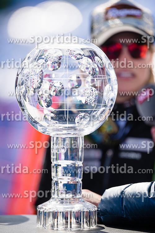 20.03.2016, Engiadina, St. Moritz, SUI, FIS Weltcup Ski Alpin, St. Moritz, Weltcup Siegerehrung, im Bild, Die grosse Kristallkugel fuer den Sieg im Gesamtweltcup, im Hintergrund Lara Gut (SUI) // during Alpine World Cup award winner ceremony of St. Moritz Ski Alpine World Cup finals at the Engiadina in St. Moritz, Switzerland on 2016/03/20. EXPA Pictures &copy; 2016, PhotoCredit: EXPA/ Freshfocus/ Manuel Lopez<br /> <br /> *****ATTENTION - for AUT, SLO, CRO, SRB, BIH, MAZ only*****