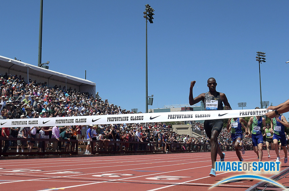 Jun 30, 2019; Stanford, CA, USA; Timothy Cheruiyot (KEN) celebrates after winning the Bowerman  Mile in 3:50.49 during the 45th Prefontaine Classic at Cobb Track & Angell Field.