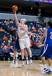 Virginia forward/center Abby Robertson (30) shoots against Morehead State.  The Virginia Cavaliers women's basketball team defeated the Morehead State Eagles 88-43 at the John Paul Jones Arena in Charlottesville, VA on February 4, 2008.