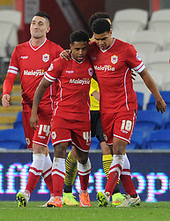 Cardiff City's Kadeem Harris celebrates his goal with Cardiff City's Tom Adeyemi - Photo mandatory by-line: Dougie Allward/JMP - Mobile: 07966 386802 - 02/01/2015 - SPORT - football - Cardiff - Cardiff City Stadium - Cardiff City v Colchester United - FA Cup - Third Round