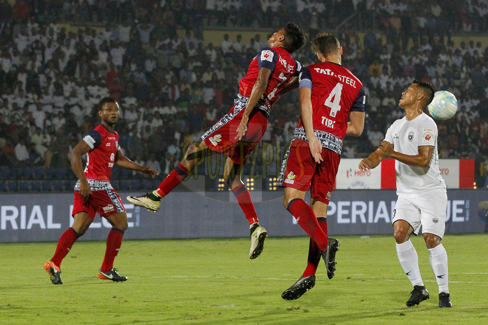 during match 2 of the Hero Indian Super League between NorthEast United FC and Jamshedpur FC held at the Indira Gandhi Athletic Stadium, Guwahati India on the 18th November 2017<br /> <br /> Photo by: Arjun Singh  / ISL / SPORTZPICS