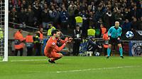 Football - 2018 / 2019 UEFA Champions League - Group B: Tottenham Hotspur vs. Inter Milan<br /> <br /> Hugo Lloris (Tottenham FC) dives to his right to block the Milan shot at Wembley Stadium.<br /> <br /> COLORSPORT/DANIEL BEARHAM