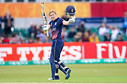 England womens cricket player Heather Knight (capt) celebrates her 100 and century during the ICC Women's World Cup match between England and Pakistan at the Fischer County Ground, Grace Road, Leicester, United Kingdom on 27 June 2017. Photo by Simon Davies.